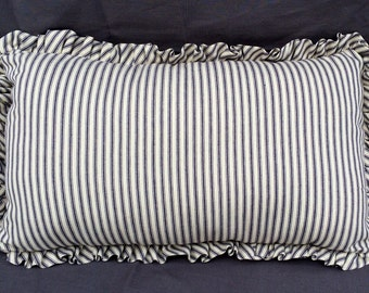 Handmade Oblong French Ticking Pillow with Ruffle (Navy)