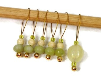 Knitting Stitch Markers Snagless Lemon Lime Knitting Tools Beaded Gift for Knitter Snag Free Green Yellow