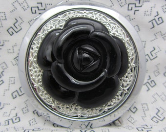 Compact Mirror Big Black Rose Comes With  Protective Pouch Gift for Her Gift under 20