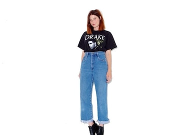 HURRY HALF OFF adorable high waisted jeans small medium // vintage mom jeans ripped jeans boyfriend jeans distressed jeans cropped jeans