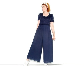 OMG HALF OFF Navy Blue Palazzo Pants Jumpsuit xs small // high waisted pants wide leg pants bellbottoms bell bottoms navy sailor jumper play