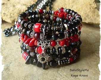Victorian Gothic Layered Bracelet, Black and Blood Red, Onyx Gemstone Bracelet, Deliciously Dark, BohoStyleMe, Kaye Kraus
