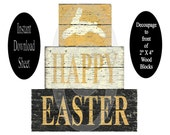 No Paint Easter Bunny DIY Blocks , Instant Download , Decoupage Sheet , Printable Craft , Wooden , Chunky , Stackable , Shelf Sitters , Wood