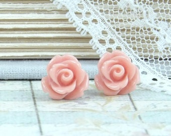 Pink Rose Earrings Rose Studs Rosebud Earrings Pink Flower Earrings Hypoallergenic Pink Stud Earrings