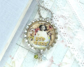 Tea Cup Necklace Victorian Necklace Bottle Cap Necklace Tea Necklace Shabby Chic Jewelry Tea Lover Gift
