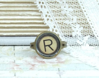 Initial R Ring Letter R Ring R Jewelry Typewriter Key Ring Adjustable Ring Initial Ring Victorian Ring