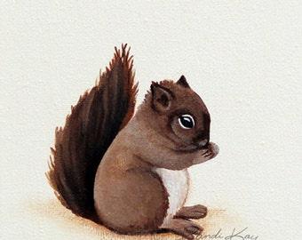 Squirrel print- Baby art prints - Squirrel Art - Nursery wall art - Baby Gift - Woodland nursery - Woodland Animals -kids art