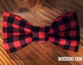 Buffalo Plaid Dog Collar Bowtie - Buffalo Dog Collar Bow Tie - Black and Red Bow Tie - Dog Bow-Dog Bow Tie - Bow Tie -Three Sizes - Bow Tie