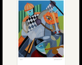 Modern Jockey and Horse Print from Original Oil Painting / Signed Numbered by Artist Modern Equestrian Gifts Horse Racing Art