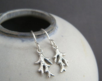 tiny sterling silver coral branch earrings petite delicate dainty simple beach jewelry black oxidized summer charms ocean sea life gift 1/2""