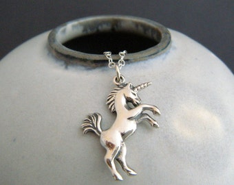 """sterling silver unicorn necklace. whimsical pendant small realistic girly charm fairytale fairy tale fun jewelry unique gift tween her 1"""""""