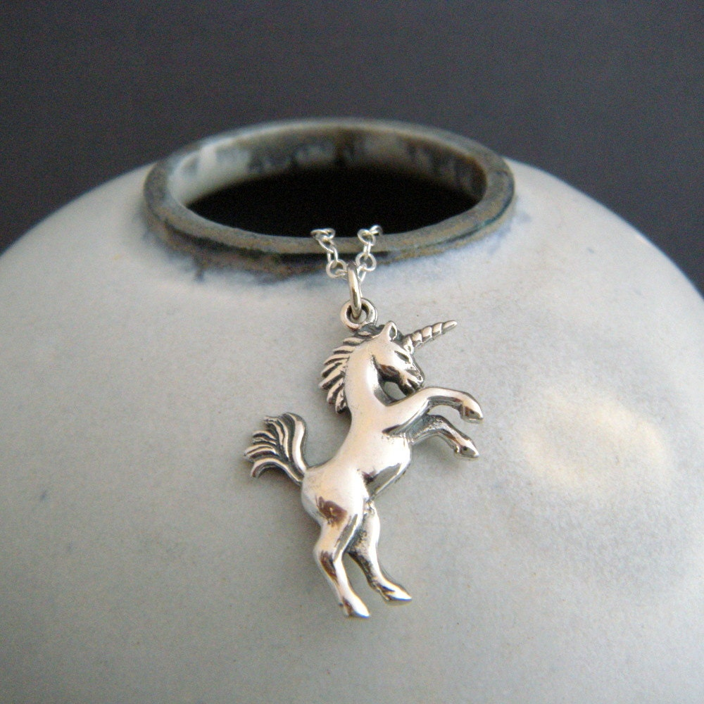 Sterling Silver Unicorn Necklace Whimsical Pendant Small