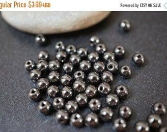 SUMMER SALE Genuine Natural Hematite Round Beads - 3mm - 50 pcs