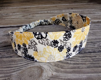 Fabric Headband with Elastic: Yellow and Black Floral Cotton