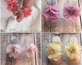 Baby Sandals... ON SALE...Barefoot Sandals.....Shabby chic  sandals...Newborn sandals.... also sized to fit infant toddler girl teen