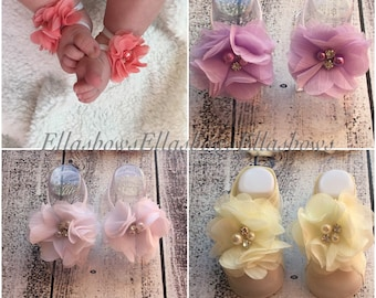 Baby sandals...Barefoot Sandals.....Shabby chic  sandals...Newborn sandals.... also sized to fit infant toddler girl teen