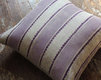 Textured scallop stripe hand block printed lavender and purple on natural undyed linen home decor decorative pillow cover