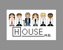 House M. D. Pixel People Character Cross Stitch PDF Pattern Only