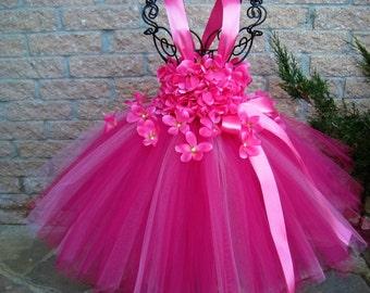 PINK FLOWERS.  Pink Tutu Dress.  Birthday Tutu Dress.  Flower Girl Gown.  Girl Tutu Dress. Princess Dress.  Hot Pink Tutu Dress. Baby Dress.