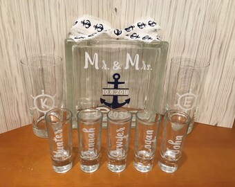 Unity Sand Ceremony Glass Containers for Family with small children - Glass Block with Nautical Anchor Ships Wheel Theme - Personalized