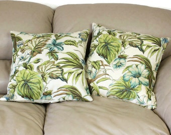 One Floral Decorative Throw Pillow,  16 or 18 inch Mill Creek Tropical Fabric in Olive green, tan, ivory and aqua blue, B1-7