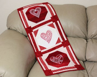 Red and White Quilted Wall Hanging - Machine Embroidered Polka Dot Passion, Hearts, Valentines Day, Wedding Decor