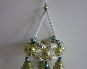 Vintage mercury glass beaded Christmas ornament