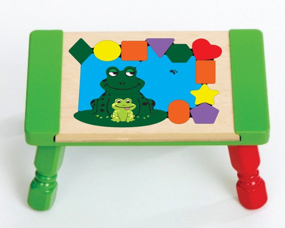 Personalized Name Frog Theme Puzzle Stool Leap By