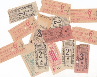 14 x Vintage Australian Bus Tickets with Advertising | Paper Tickets for Crafting or Collecting