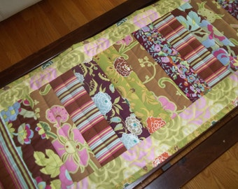 Table Runner ~ Patchwork Quilted Table Runner ~  Boho Table Runner ~ Amy Butler