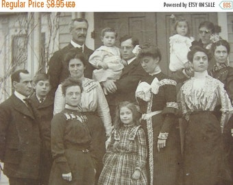 ONSALE Stunning Cabinet Photo of a very Victorian Family on their Front Porch