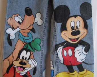 Custom Disney ADULT Minnie, Mickey n Friends w 3 LARGE  Hand Painted characters on jeans you supply