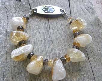 Chunky Citrine and Smokey Quartz Medical ID Bracelet, Gold Gemstone Alert Bracelet, Sterling or Stainless Clasp Replacement Bracelet