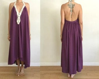 Upcycled Aubergine Purple Cream Scallop Embroidered Appliqué Backless Halter Frock High Low Dress S/M