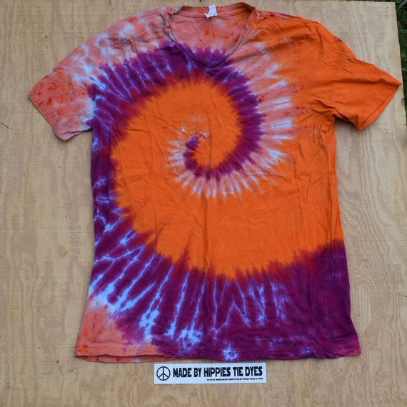 Peach Special Spiral Tie Dye V-neck T-Shirt (Bella Canvas Size XL) (One of a Kind)