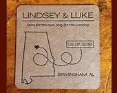 CUSTOM FOR ASHLEY -Letterpress Save the Date coasters