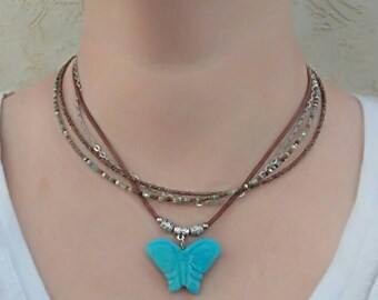 Multistrand Necklace - Turquoise Butterfly Pendant - Coachella 2016 - Turquoise & Brown Beaded Necklace - Tibetan Beads - Gift For Her