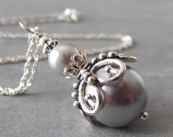 Necklace Pearl Gray, Bridesmaid Jewelry, Bridal Pearl Pendant, Wedding Jewelry Sets, Silver Pearl Bridesmaid Necklace, Sterling Silver Chain