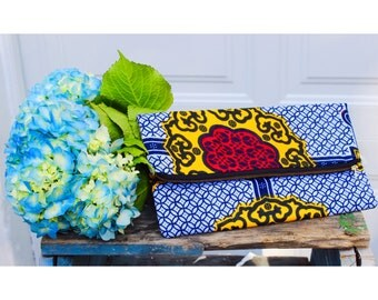 African Print Foldover Clutch Bag, Reversible Bag, Clutch Bag, Summer Clutch Bag,