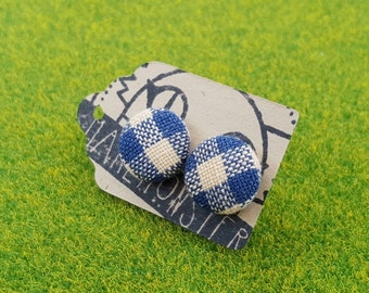 12mm fabric button stud earrings-- navy blue and peach checked gingham