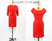 50s Dress Wool Small / 1950s Vintage Red Wiggle Dress and Bolero / Cherry On Top Dress
