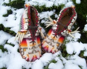 Wily Wooly Whiskers - Felted Blanket Wool / Wool Lined / Sheepskin and Leather Soles Moccasins / Slippers -Women's or Men's