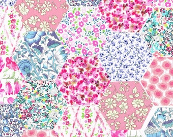 60 Liberty Fabric Hexagons 1 1/4″ Sides Pink Blue Selection 1021