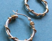 Sterling Silver and 14k Gold Filled Wire Wrapped Hoop Earrings Classic Everyday Earrings Silver and Gold