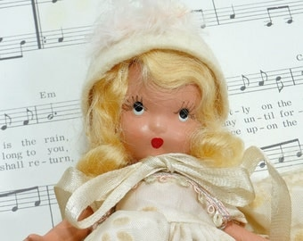 1940's Vintage Doll | Nancy Ann Storybook Doll | Bisque Doll | Blonde Mohair Wig | Frozen Leg | Doll Clothes | Felt Doll Hat | Collectible