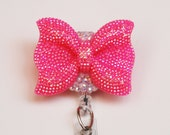 Hot Pink Shimmery Bow ID Badge Reel - Retractable ID Badge Holder - Zipperedheart