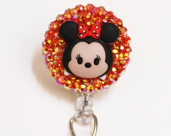 Minnie Mouse Sparkly Tsum Tsum ID Badge Reel - Retractable ID Badge Holder - Zipperedheart