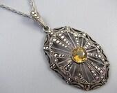 Vintage Art Deco German sterling silver citrine marcasite pendant necklace