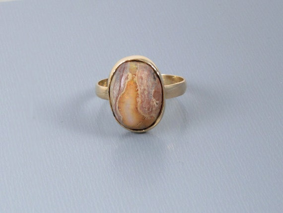 Vintage estate 14k gold opal in matrix hand crafted organic ring size 5.5