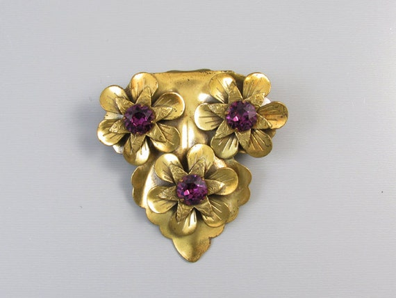 Large vintage Victorian Revival brass purple amethyst paste floral dress clip